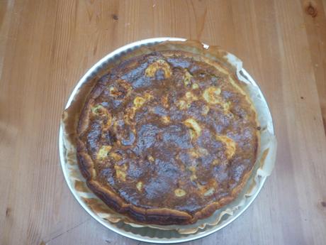 Tarte crevettes, pignons de pin et basilic